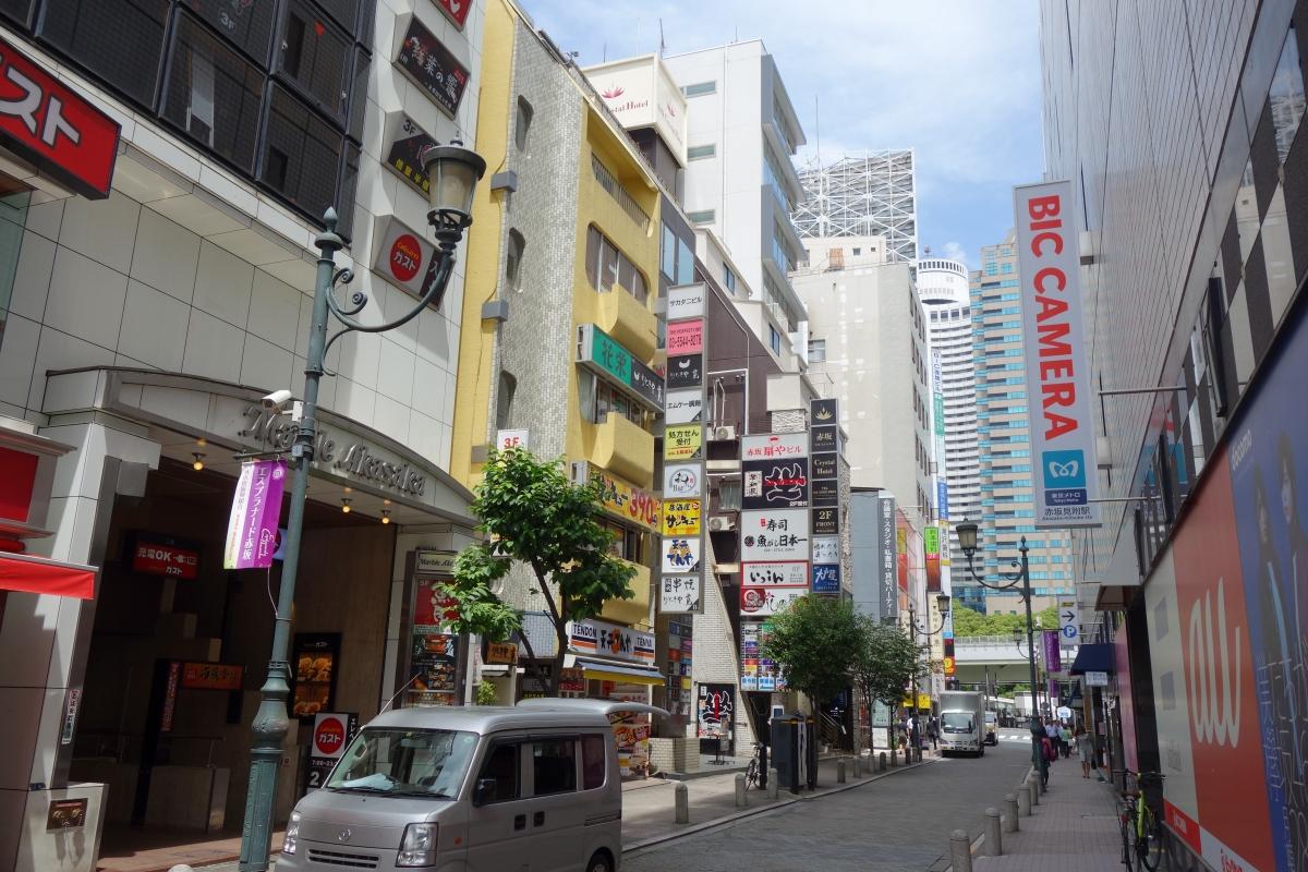 左側にガストや大戸屋、右手はビックカメラ店舗と駐車場のある通りを進みます