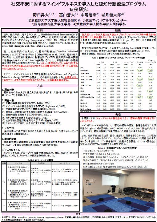 野田昇太先生のコラム「社交不安とマインドフルネス(ポスター発表の内容報告)」を公開しました